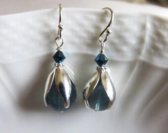Blue Fluorite Earrings, Dangle & Drop Silver Earrings, Fluorite Beads With Sterling Silver Earrings, Mothers Day Gift, GemlinkDesign Jewelry