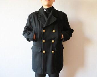 Short Black Wool Coat Sailors Uniform Jacket Winter Trench Double Breasted Wool Coat Unisex Winter Wool Military Style Coat Size Medium