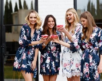Set of 5 Bridesmaid Robes // Robe // Bridal Robe // Bride Robe // Bridal Party Robes // Bridesmaid Gifts // Satin Robe // Gemstone