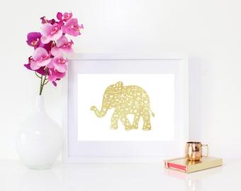 DIGITAL DOWNLOAD, Gold Elephant, Elephant Art, Gold Elephant Art, Elephant Wall Decor, Elephant Printable