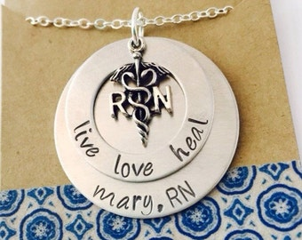 Nurse Hand stamped Necklace, RN Necklace, Live Love Heal Necklace Nurse Gift, Nurse's Day, Nurse Gift, RN Gift