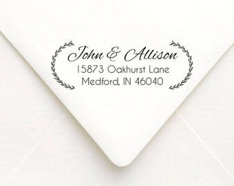 Floral Wreath Address Stamp, Personalized Custom Return Address Stamp, Wedding Address Stamp, Self Inking or Rubber Stamp
