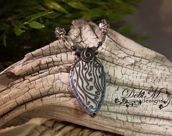 Rustic teardrop Squiggles Polymer Clay Pendant