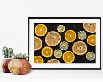 citrus v. two // food photography print // kitchen decor // dining room // minimalist art print // rustic farmhouse wall art