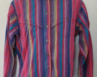 Womens Vintage Wrangler Authentic Western Apparel Aztec Indian Blanket Design shirt size medium