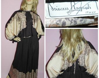 Vintage 70s PRINCESS RASPANTI Brown/Cream Art Nouveau Batwing Maxi dress 10 S 1970s Avant Garde Bohemian Blouson Psychedelic