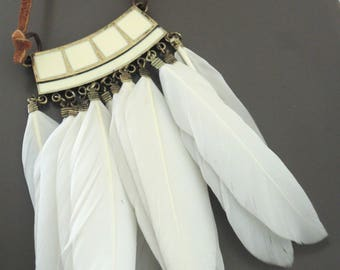 Feather necklace Necklace - Leather Necklace - White Feather Necklace - Tassel Necklace - Boho Necklace - Ethnic Necklace - handmade jewelry