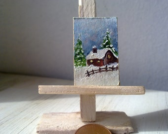 winter landscape Dollhouse Miniatures, Dollhouse Accessory, Cute original oil painting,original oil painting,FREE SHIPPING
