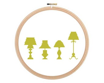 Lamps - Cross stitch pattern, Lamps Pattern, Lamps Cross Stitch, Vintage Cross Stitch, Vintage Pattern, Easy Cross Stitch, Simple Pattern
