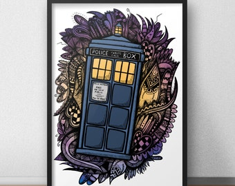 Doctor who tardis print / poster hand draw zen styled pattern fan art print / poster