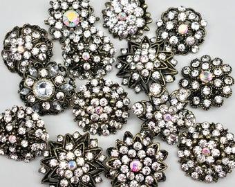 Sale !! 10 pcs Clear Rhinestone Brooch Crystal Brooch Rhinestone Embellishment Button - Cake Decoration Brooch Bouquet Wedding Jewelry