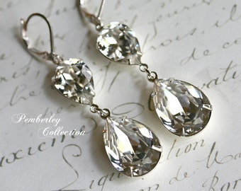 Bridal Crystal Earrings, Swarovski Crystal, Tear Drop, Pear Shaped