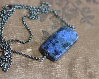 Dumortierite Necklace Silver Necklace Purple Blue Indigo Rustic Jewelry