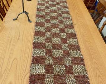 Rustic Handwoven Rag Table Runner, Rug, Reversible, RU07
