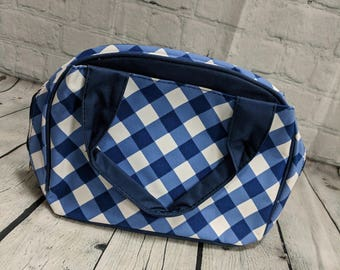 Monogram Lunch Bag-Bowler Style Royal Gingham
