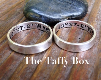 Longitude Latitude Ring Set - Hand Stamped Sterling Silver