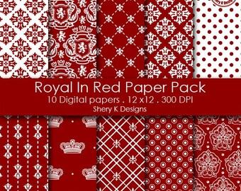 Royal In Red Paper Pack - 10 Printable Digital Scrapbooking papers - 12 x12 - 300 DPI