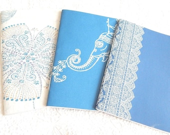 Set of 3 blue sketchbooks, patterned journal, travel diary, floral notepads