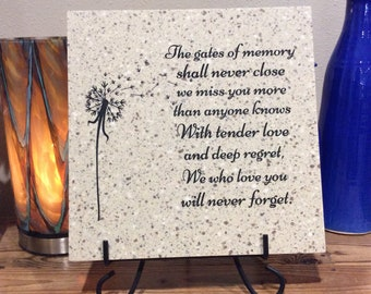 "The Gates Of Memory Laser Engraved Corian Tile 12"" x 12"""
