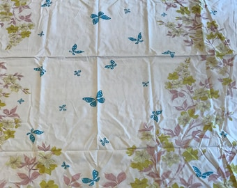 Vintage 1950s Shabby Cotton Tablecloth - Retro Farmhouse Beach House Kitchen - Pink, Turquoise, Chartreuse  - Cottage Chic