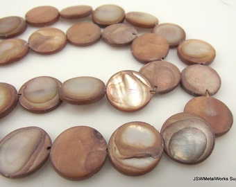 Mauve Mother of Pearl Beads, Puffed Flat Round Beads,  13 - 14 mm, 15 inch Strand, Whole Strand
