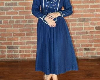 70's Vintage || Dark Denim || Cowgirl A Line Dress || Denim Dress || Long Sleeved Dress