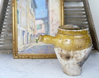 Antique French Confit Pot, Yellow Glazed French Jar Pottery, Yellow Urn Jug, Provence, French Terra Cotta Pot, French Farmhouse