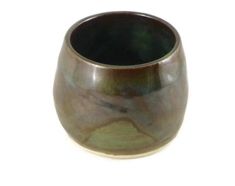 Earthy cup - tea bowl - shaving cup - brown and green cup - pottery cup