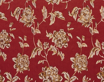 Deep Red, Brown and Gold Large Scale Flowers and Leaves Damask Brocade Upholstery Fabric By The Yard | Pattern # B0720C