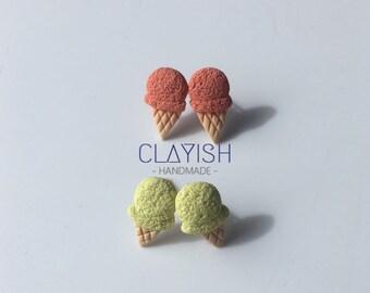Handmade Polymer Clay Ice Cream Stud Earrings