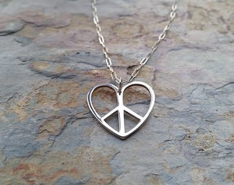 Sterling silver, large peace heart charm necklace