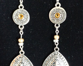 BOHO Style Silver and Gold Colored Dangle Earrings