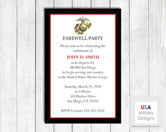 Marine Corps Farewell Invitation, Printable Marine Corps Farewell Invitation, Military Farewell Invitation, Marine Graduation Invitation