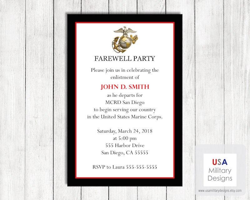 Marine Corps Farewell Invitation Printable Marine Corps