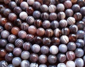"Natural Botswana Agate 12mm Round Shape Beads - 8"" Strand  / Liquidation / Close Out Prices"