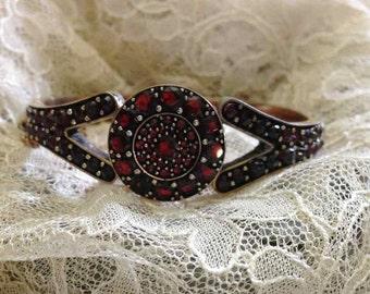 Late Victorian Pyrope Garnet Bangle Bracelet; Victorian Bangle Bracelet; Garnet Bracelet; Antique Garnet Bracelet