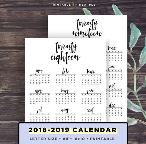 2018-2019 Calendar Printable, Printable Calendar, Brush lettering  calligraphy style, Instant Download, A4, Letter Size, 8x10 in