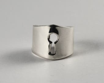 Sterling Silver Keyhole 925 Ring, Silver Key Ring, Handcrafted Silver Ring