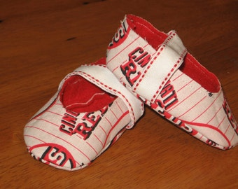 newborn unisex fabric sports baby shoes- Cincy Reds MLB
