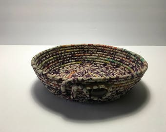 Purple and Beige Batik Coiled Rope Bowl, Fabric Bowl, Catchall Basket, Organizer Basket, Quiltsy Handmade