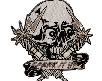 Skull Spark It Up Patch Biker Plug Electric Bones Embroidered Iron On Applique