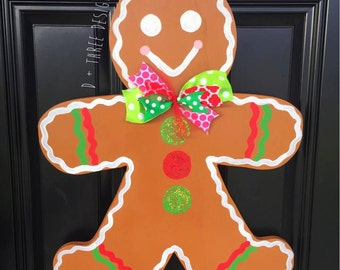 Christmas Sparkling Gingerbread Man Door Hanger / Winter Wreath / Painted Wooden Christmas Wreath / Wooden Door Hanger / & Whimsical Gingerbread Man Door Hanger