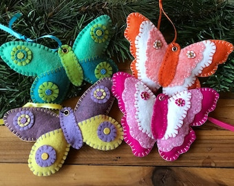 Wool Felt Butterfly Ornament Hanger