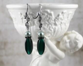 Vintage Assemblage Green Dangle Earrings, Art Deco Earrings, Two Tone Green Drop Earrings, Pearl and Vintage Beaded Drop Earrings
