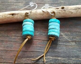 Leather fringe earrings, turquoise dangle earrings, gemstone earrings, cowgirl jewelry, cruise wear, resort wear, gift for birthday friend