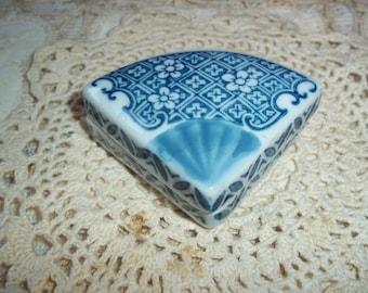 Vintage Blue/White Trinket Ring Box Fan Shaped Petite Asian Marked Ceramic Box Collectible Blue & White Dresser Ring Box
