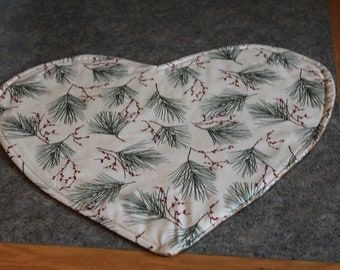 Beige Pine Boughs Berries Heart Shaped  18 X 16  Table Runner Topper
