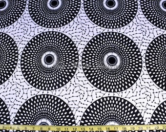 4 way Stretch Fabric/ Stretch African inspired Print Fabric/ Stretch Jersey Fabric/4 way stretch spandex fabric/Black and White circles ST08