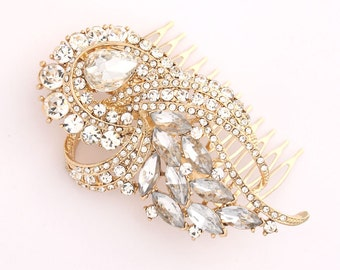Gold Bridal Hair Comb, Art Deco Wedding Hair Piece, Bridal Hair Clip, Vintage Style Hair Accessories, Crystal Rhinestone Wedding Comb