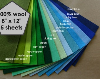 "5 wool felt sheets, 100 percent wool, pure wool felt ,choose any colour, 100% wool felt, 20x30 wool felt sheets,  8"" x 12"" wool felt"